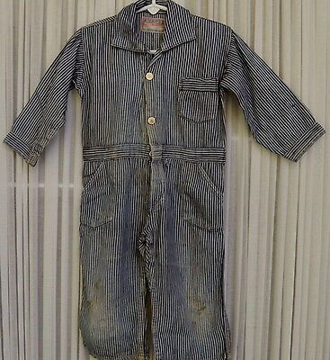 Vintage Childs 1950 Train Conductor Play Suit Charming Striped Fabric