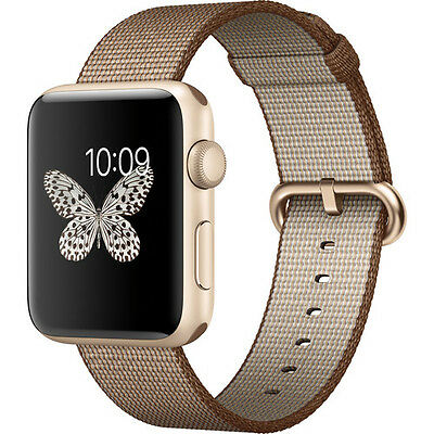 Apple Watch Series 2 42mm (Gold Aluminum Case, Toasted Coffee Woven Nylon Band)