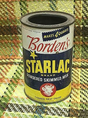 vintage one pound BORDEN'S Starlac Powdered Skimmed Milk tin can advertising