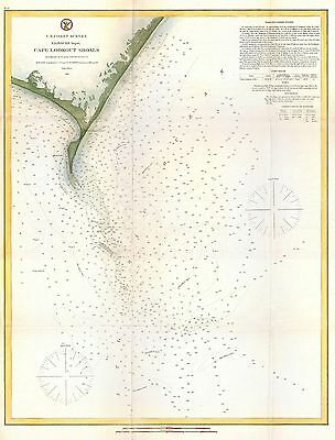 1866 Coastal Survey Map of Cape Lookout North Carolina