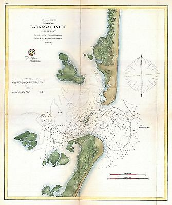 1865 Coastal Survey Map Chart Barnegat Inlet Long Beach Island New Jersey