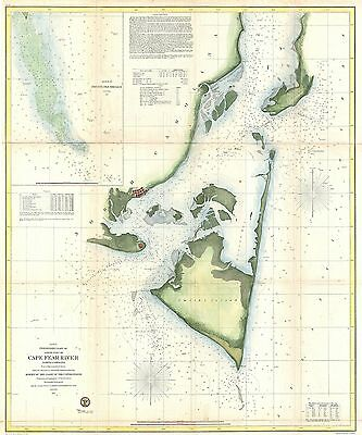 1855 Coastal Survey map Nautical Chart Cape Fear and Vicinity North Carolina