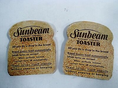 Old SUNBEAM Toaster Advertising Pair SLICE of TOAST Radiant Control Promotional