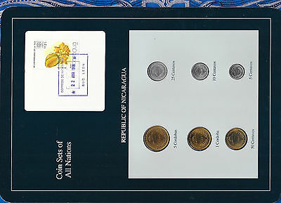 Coin Sets of All Nations Nicaragua UNC 1,5 Cordobas 5,10,25,50 Ctvs 1987 22ABR91