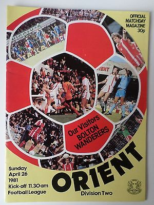 Orient v Bolton Wanderers 1980/81 programme