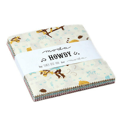 "Howdy Moda Charm Pack 42 100% Cotton 5"" Precut Quilt Squares by Stacy Iset Hsu"
