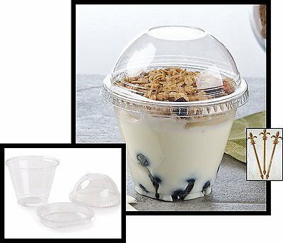 Pack of 25 Clear Plastic Parfait Cup 9 oz with Insert and Dome Lid