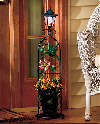 Solar Powered Metal Plant Stand Patio Porch Hummingbird, Dragonfly or Butterfly