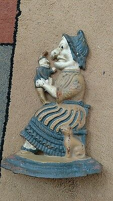 """Vintage Cast Iron Door Stop- England's Punch& Judy-12 1/4"""" Tall,Very Heavy & Old"""