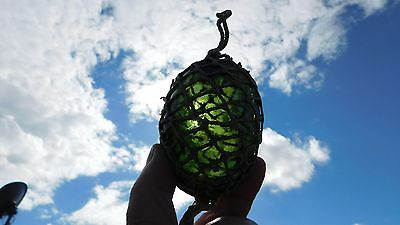 Wonderful Norwegian Netted Forest Green Egg Shaped Glass Float Norway