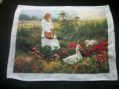 Unfinished Crewel Embroidery Lady Flower Garden Stamped Fabric No Yarn NP05