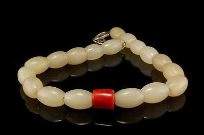 Vintage Chinese Red Coral White Hardstone Beads Silver Choker Necklace D65-14