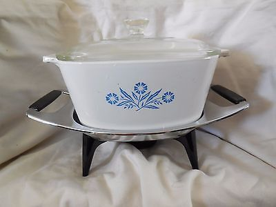 1-3/4 Qt Corning Ware Blue Cornflower Casserole With Warmer Tray And Lid