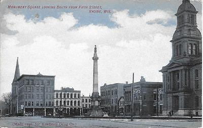 Monument Square looking South from Fifth St Racine WI nice real photo not used