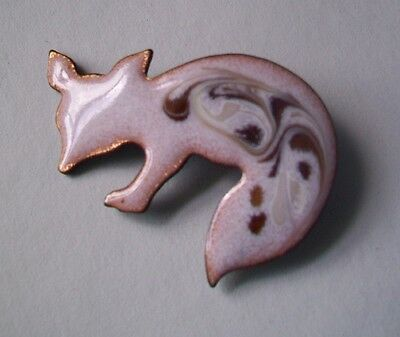 Enamel on Copper FOX Pin Brooch Signed INGA-CREAM/BROWN COLORS