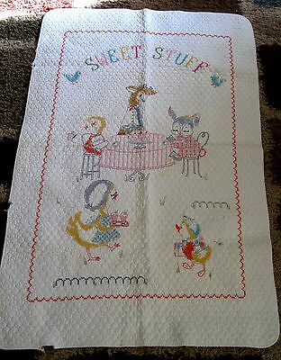 VTG Baby/Nursery Quilt Embroidery Pink Bunny/Chicks/Animals At Lunch Giraffe!