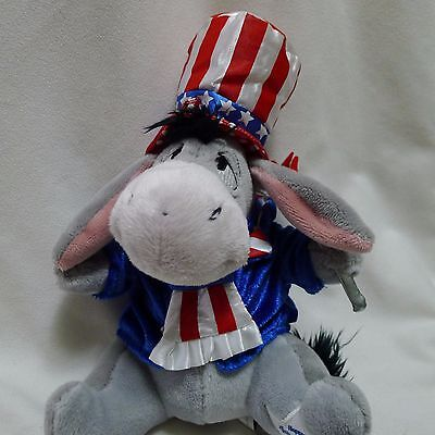 Disney Parks Patriotic Eeyore Plush Happy 4th of July 2008 Uncle Sam Tagged 6 in