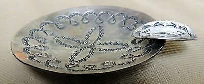 Gorgeous Old Navajo Hand Stamped Cigarette Cigar Ashtray Sterling Silver .925