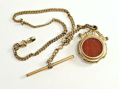 Vintage Gold Filled Art Deco Pocket Watch Chain With Black Onyx & Red Agate.