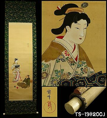 """Beauty and Craftman"" Hanging Scroll by Utagawa Kunimine 歌川國峰 -Japan- Taisho Era"