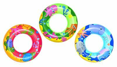 Kids Swimming Ring Pool Tyre Donut Float Swim Inflatable Pink Green Blue NEW