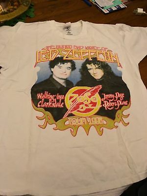Jimmy Page Robert Plant Walking into Clarksdale 1998 Tour T-Shirt Short Size XL