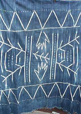 Rare Vintage African Mud Cloth, Indigo, Tribal, Large Throw, Fringe, Gold Accent