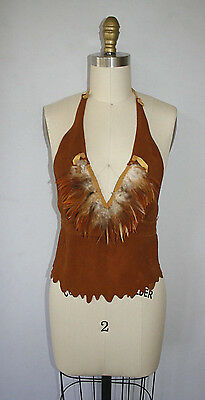Leather Suede Halter Top Festival Hippie Harley Coachella Burning Man Vest Boho