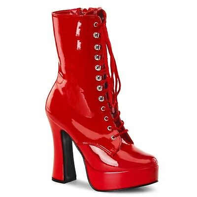 Pleaser Electra 1020 Stiefelette rot red Lack Patent Plateau Gr. 39 / 40 (US 9)
