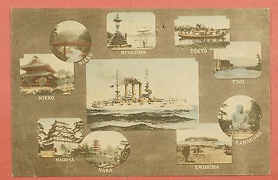 Vintage Pc Great White Fleet In Japan Mult-View Postcard