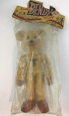 New old stock antique Bendy Toys Teddy bear T on chest England Newfeld 1940s
