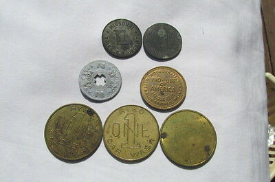 7 Vintage Token Coins Pro Lube, Ryko Car Wash, Missouri Colorado Sales Tax C51