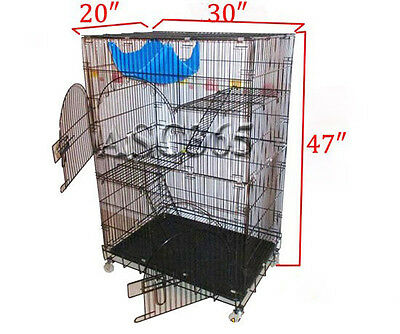 Portable 30″×20″×47″ Cat Animal Pet Cage Foldable Wire Cat Cage 2 Perches