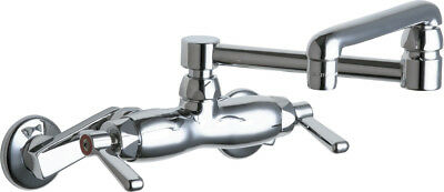 "Chicago Faucets 445-DJ13ABCP Adjustable Wall Faucet with 13"" Double Joint Spout"