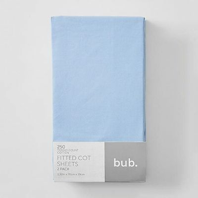 NEW 2 Pack Fitted Cot Sheets - Blue