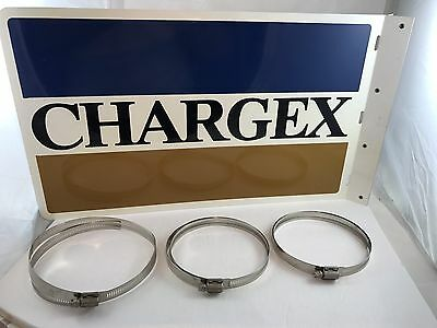 Chargex Credit Card Two Sided Tin Sign Vintage VISA Double Side New Old Stock Ad