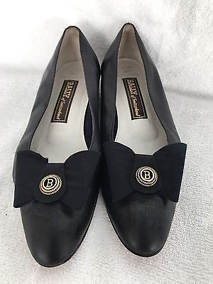"Bally ""Emile"" Black Leather Slip On Bow Dress Shoes Size 9.5 N"
