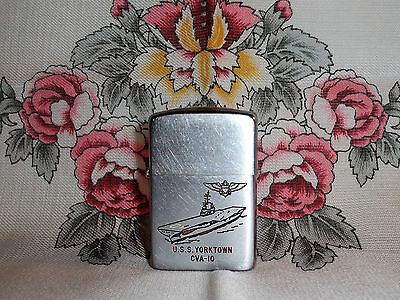 Vintage 1955-1957 USS Yorktown CVA-10 Zippo Lighter Navy Aircraft Carrier