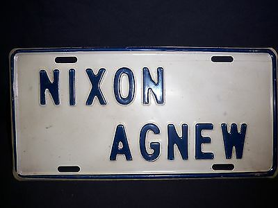 1970's NIXON AGNEW  FRONT BOOSTER LICENSE PLATE RARE PRESIDENT  NO RESERVE