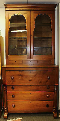 GORGEOUS ANTIQUE CHERRY AMERICAN BUTLERS DESK CUPBOARD c. 1870 w. Appraisall