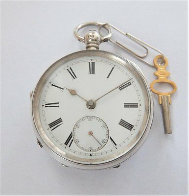 Working Antique Solid Silver Fusee Pocket Watch. Hallmarked Chester 1887.