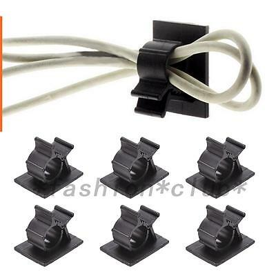 10pc Cable Clips Adhesive Cord Management Wire Holder Organizer Black Clamp New