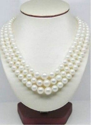 14K Gold triple strands 9-10MM NATURAL ROUND SOUTH SEA WHITE PEARL SET