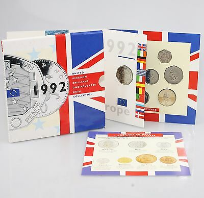 SCARCE Royal Mint 1992 Brilliant Uncirculated Coin Set with EEC 50p Coin (KZ31)