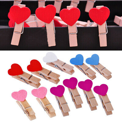 20Pcs Mini Love Heart Wooden Pegs Colorful Photo Clips Craft Wedding Party Decor
