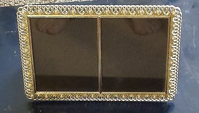 Vintage Pewter Rhinestone And Pearl Double Picture Frame 11 1/2 X 8 1/2 Inches