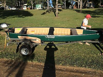 5m fishing cargo canoe with honda 2hp motor and redco trailer camping
