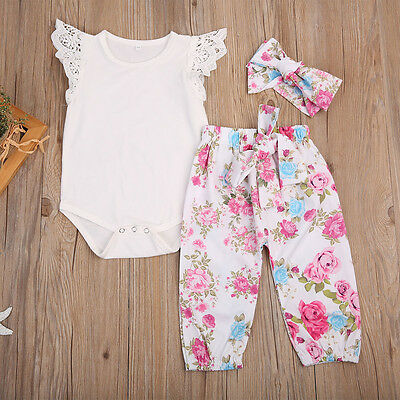 3PCS Set Infant Toddler Baby Girl Lace Tops Romper +Floral Pants Outfit Clothes