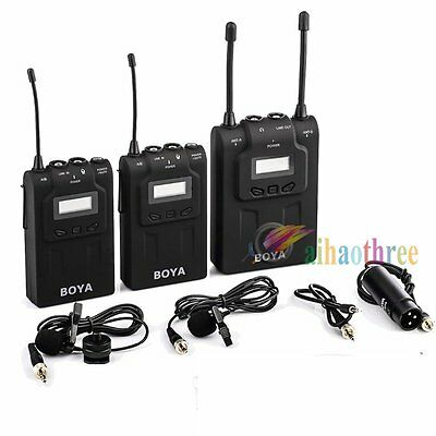 BOYA BY-WM8 UHF Dual-Channel Wireless Lavalier Microphone Mic For DSLR Camera