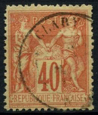 France 1877-90, 40c Red/Yellow Used #D50708